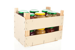 Wooden crate preserved vegetables Stock Photography