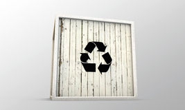 Wooden crate with recycle symbol Stock Photo