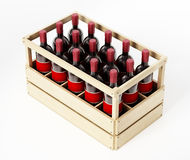 Wooden crate of red wine isolated on white background. 3D illustration.  Royalty Free Stock Image