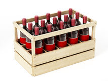 Wooden crate of red wine isolated on white background. 3D illustration.  Royalty Free Stock Photos