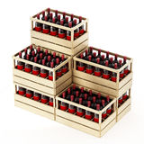 Wooden crate of red wine isolated on white background. 3D illustration.  Stock Image