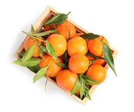 Wooden crate with tasty ripe tangerines on white background. Top view royalty free stock photos