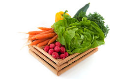 Wooden crate with vegetables Stock Photo