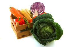 Wooden crate vegetables stock photography