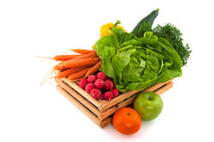 Wooden crate with vegetables and fruit Royalty Free Stock Photo