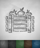 Wooden crate vegetables icon Stock Photo