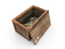 Wooden Crate With Euros Inside Royalty Free Stock Images