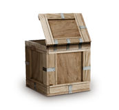 Wooden Crate wood box. Open cargo wood box on white background Stock Photo