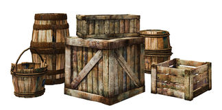 Wooden crates and barrels Stock Images