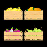 Wooden crates with fruits Stock Image