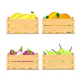 Wooden crates with fruits Royalty Free Stock Images