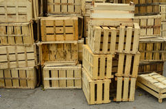 Wooden crates. Pile of wooden crates waiting for transportation Royalty Free Stock Images