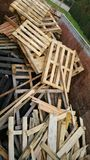 Wooden crates. In recycling centre container Royalty Free Stock Photos