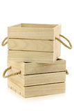 Wooden crates with rope handles Royalty Free Stock Image