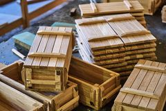 Wooden crates for small things Stock Photo