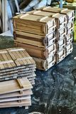 Wooden crates for small things Stock Photos