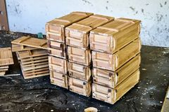 Wooden crates for small things Royalty Free Stock Photos