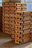 Wooden crates stacks. Stacks of military wooden unpainted crates Royalty Free Stock Images