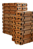 Wooden crates stacks. Stacks of military wooden unpainted crates isolated on white background Stock Photo