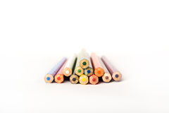 Wooden crayon stack Royalty Free Stock Photos