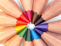 Wooden crayons Stock Photos