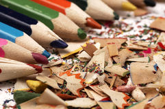 Wooden crayons. Creative mess on the table. Royalty Free Stock Photo