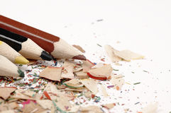 Wooden crayons. Creative mess on the table. Colorful wooden pencils. Artistic mess on the table Royalty Free Stock Photography