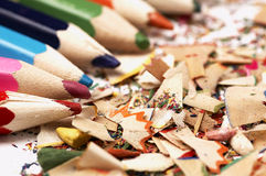 Wooden crayons. Creative mess on the table. Royalty Free Stock Image