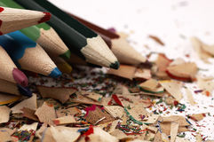 Wooden crayons. Creative mess on the table. Stock Images