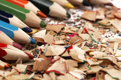 Wooden crayons. Creative mess on the table. Royalty Free Stock Photos