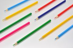 Colored pencils of different shapes royalty free stock photography