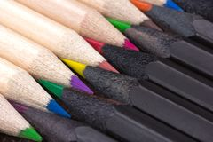 Wooden crayons shot in macro mode Royalty Free Stock Photo