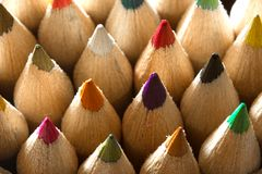 Wooden crayons shot in macro mode Royalty Free Stock Images