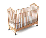 Wooden crib baby  on white background. 3d rendering.  Stock Photo