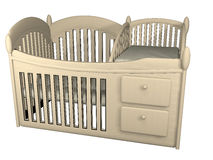 Wooden crib 3d illustration Royalty Free Stock Images