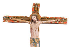 Wooden crucifix from 1400s in a danish church. stock image