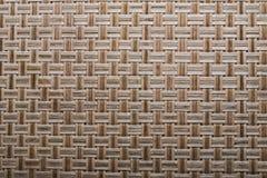 Wooden crisscross wicker mat horizontal view.  royalty free stock photo
