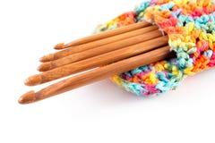 Wooden crochet hooks. In crochet bag on white background royalty free stock images