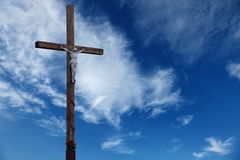 Wooden cross. Wooden cross on a background sky Stock Photo