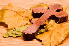 Wooden  cross 2. Wooden Orthodox cross, photographed in macro mode Royalty Free Stock Photos