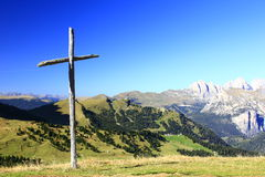 Wooden cross. On the Sella Pass (2240m) in the Dolomites, Italien Alps, South Tyrol, Italy Royalty Free Stock Photography
