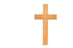 Wooden Cross. With grain standing on a white background Royalty Free Stock Image