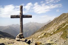 Wooden cross. Standing in italian Alps royalty free stock photography