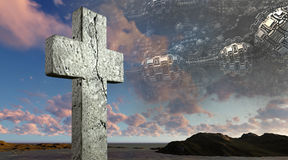 Wooden cross against the futuristic background Stock Images