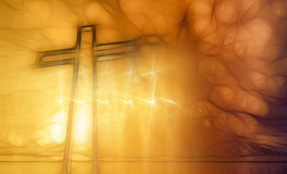 Wooden cross against the futuristic background Stock Photos