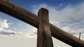 Wooden cross against the sky with clouds stock video