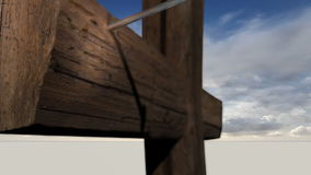 Wooden cross against the sky with clouds stock footage