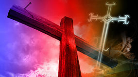 Wooden cross against the sky Royalty Free Stock Images