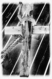 Wooden cross. A wooden cross in Black& White. The photo is solarized in Lightroom Stock Images