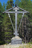Wooden Cross on Bolshoy Solovetsky Island, Russia Royalty Free Stock Images